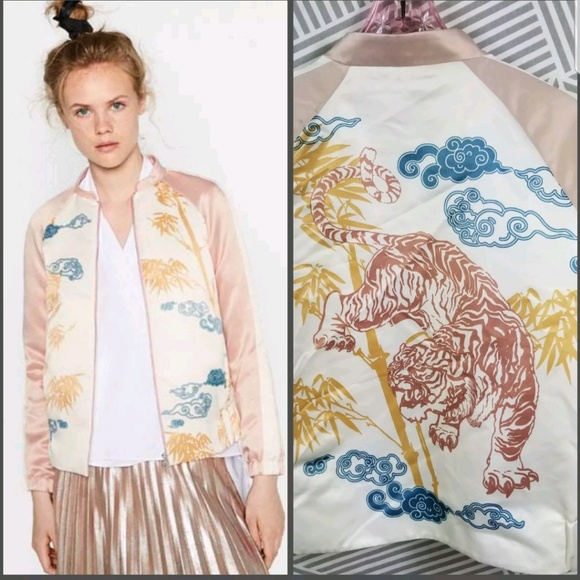168c4f358 Zara Basic Satin Tiger print Asian Bomber Jacket NWT